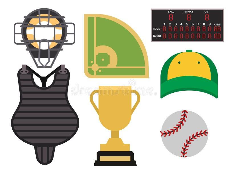 Les icônes de joueur de baseball de bande dessinée maniant la batte le vecteur conçoivent l'équipement américain de ligue de spor illustration de vecteur