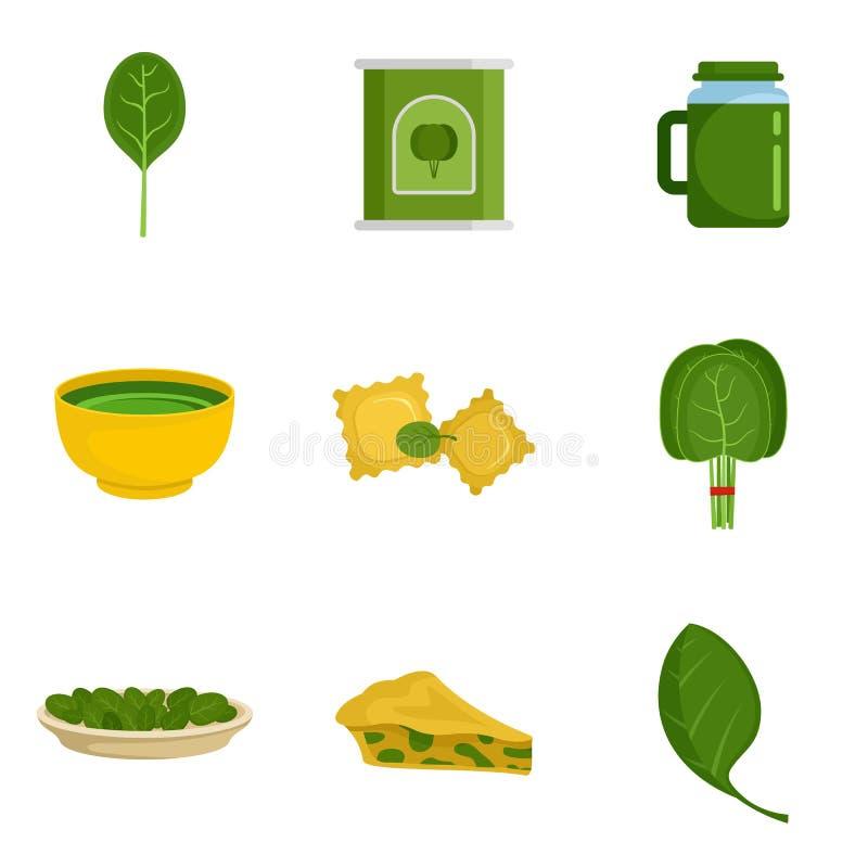 Les icônes de légumes-feuilles d'épinards ont placé, style plat illustration stock