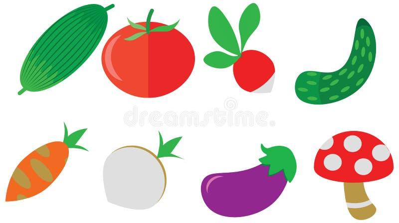 Les icônes de légumes de griffonnage de couleur de bande dessinée emballent le menu réglé de café illustration libre de droits