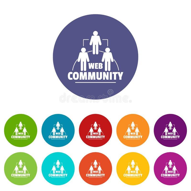 Les icônes de la communauté de Web ont placé la couleur de vecteur illustration stock