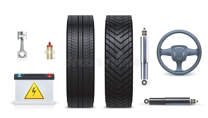 Les icônes de la voiture pièce pour le garage, services automatiques de voiture Diverses pièces et accessoires de voiture d'isole illustration libre de droits