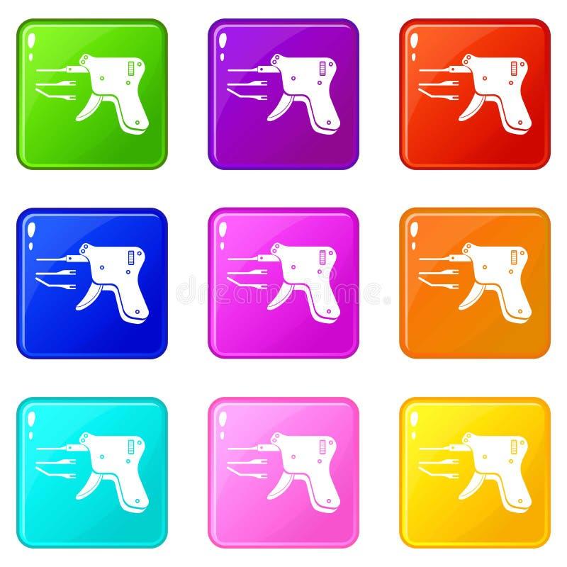 Les icônes de lecteur de code ont placé la collection de 9 couleurs illustration libre de droits