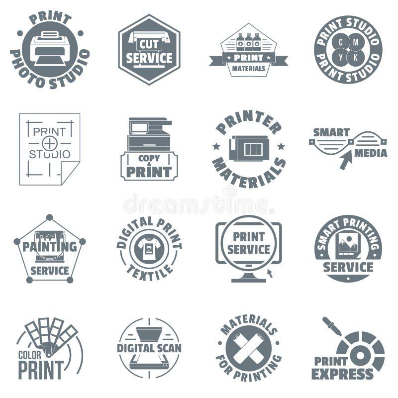 Les icônes de logo de service d'impression ont placé, style simple illustration libre de droits