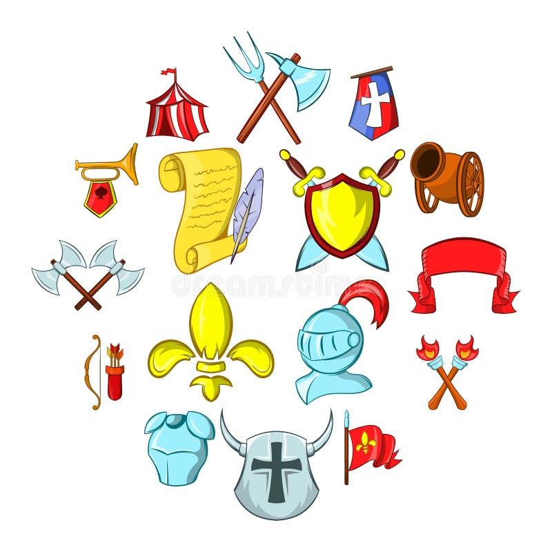 Les icônes de Moyens Âges réglées illustration de vecteur