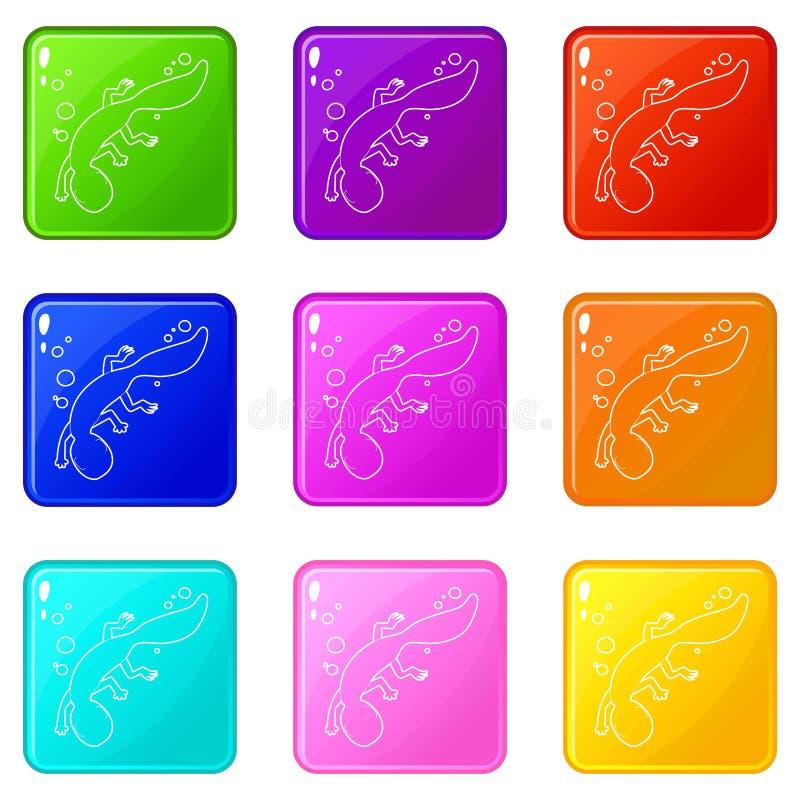 Les icônes de natation de lézard ont placé la collection de 9 couleurs illustration libre de droits