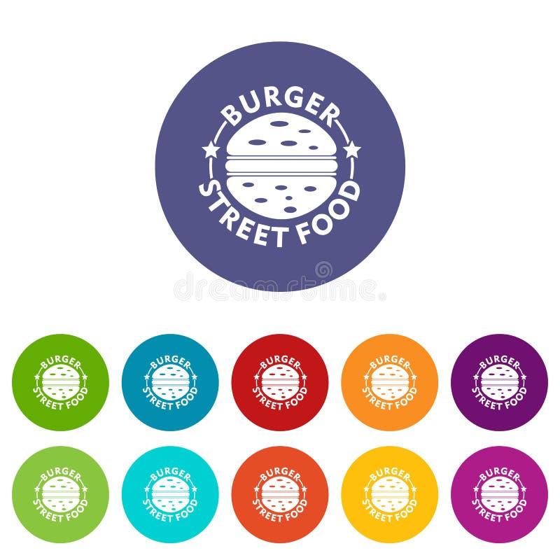 Les icônes de nourriture de rue d'hamburger ont placé la couleur de vecteur illustration libre de droits