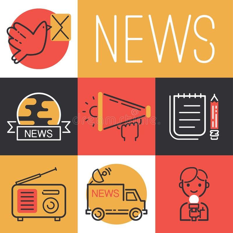 Les icônes de nouvelles dirigent le caractère d'homme de journaliste avec le microphone pour l'entrevue de TV sur l'illustration  illustration stock