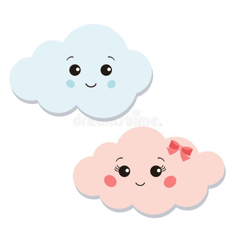 Les icônes de nuages dirigent l'ensemble d'isolement sur les illustrations blanches de caractère de vecteur de fond illustration stock