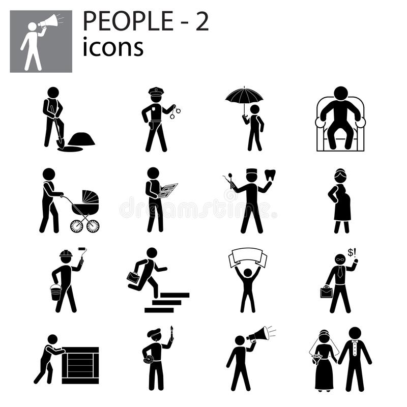 Les icônes de personnes ont placé des professions, actions, gestes illustration libre de droits