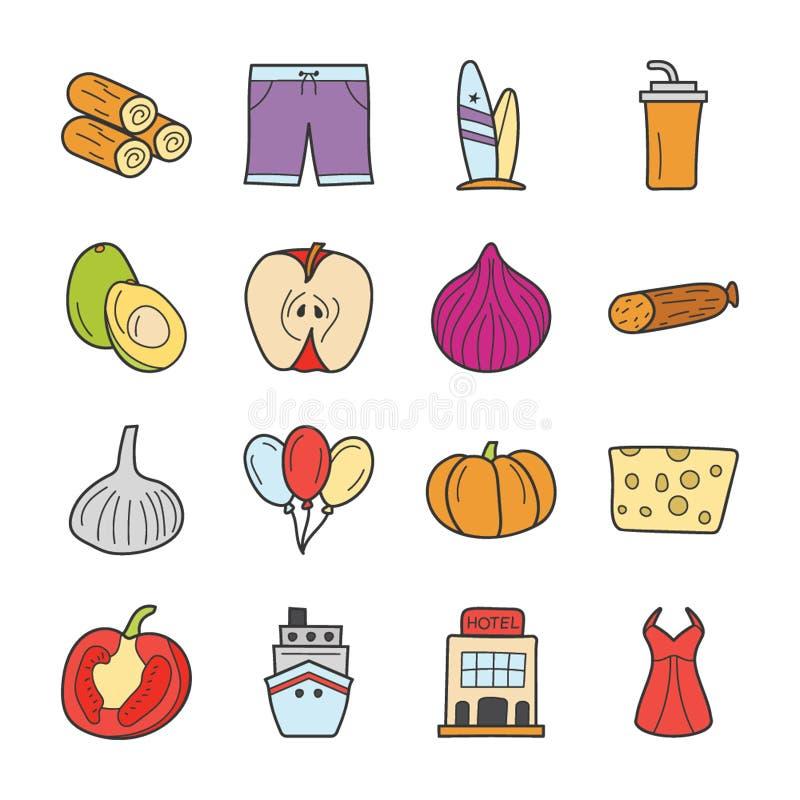 Les icônes de pique-nique et de voyage emballent illustration stock