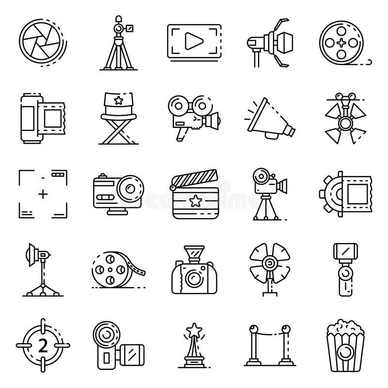 Les icônes de production cinématographique ont placé, style d'ensemble illustration stock