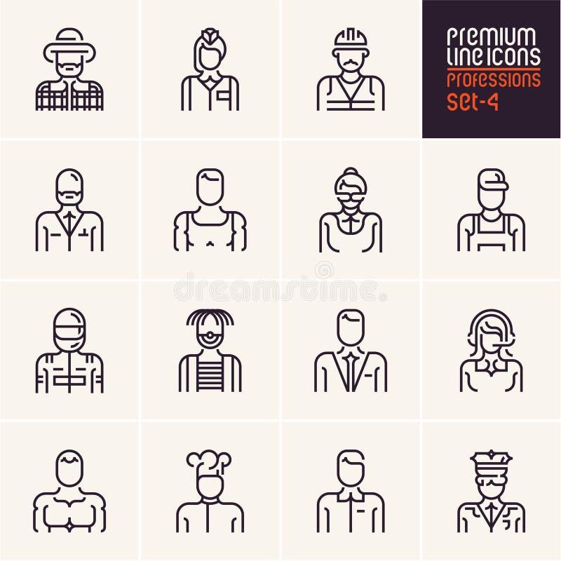 Les icônes de professions ont placé, des professions de personnes, affaires, travailleurs, employé illustration de vecteur