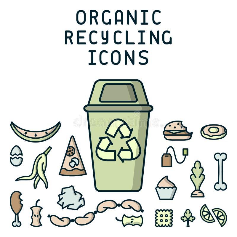 Les icônes de réutilisation organiques ont placé avec les déchets et le décharge illustration de vecteur