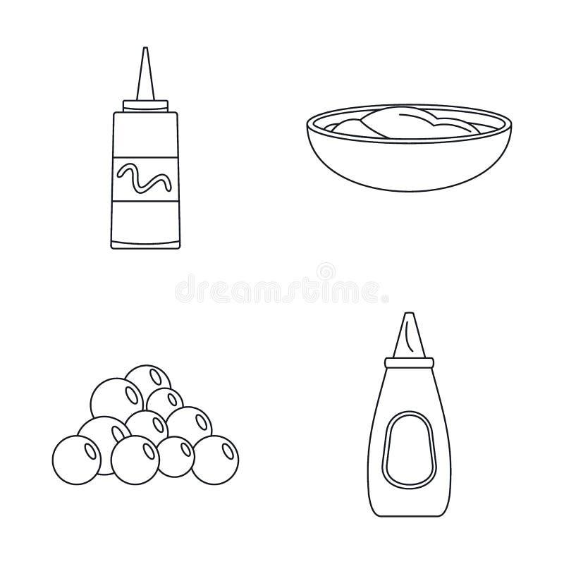 Les icônes de sauce à graines de moutarde placent, décrivent le style illustration stock