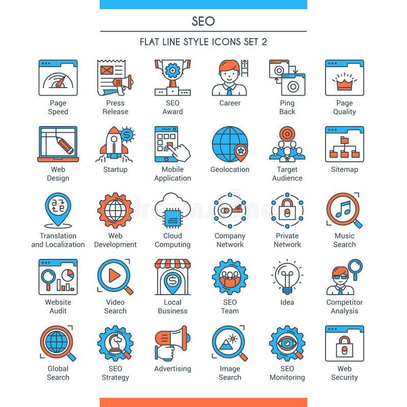 Les icônes de Seo ont placé 2 illustration libre de droits