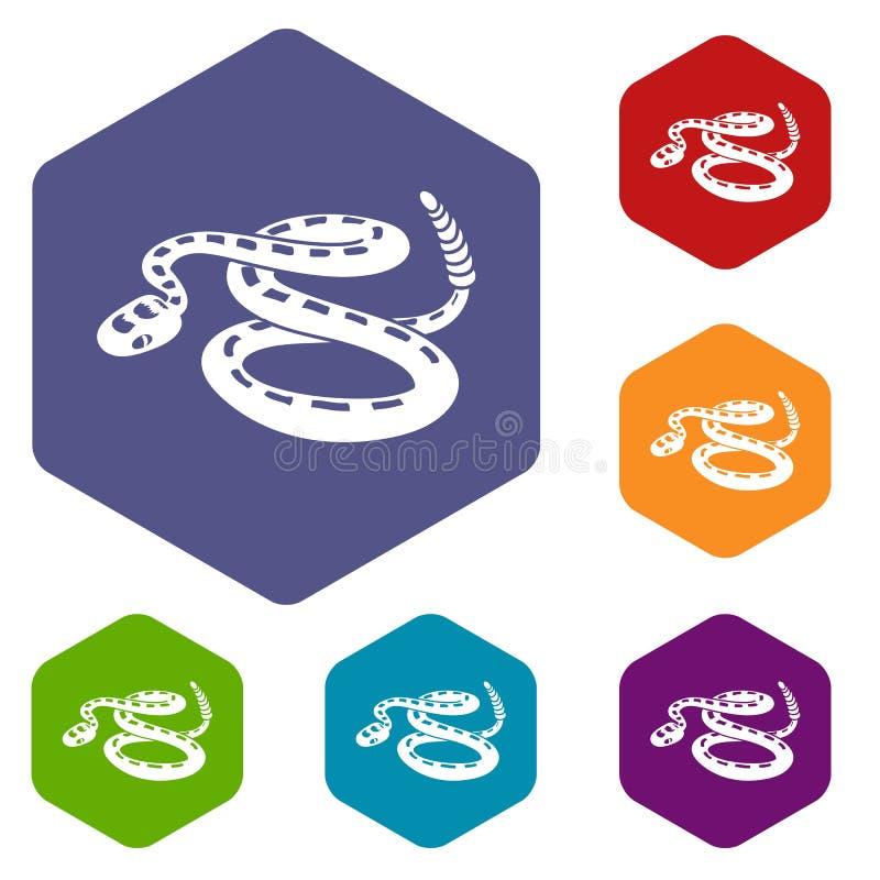 Les icônes de serpent à sonnettes dirigent le hexahedron illustration de vecteur