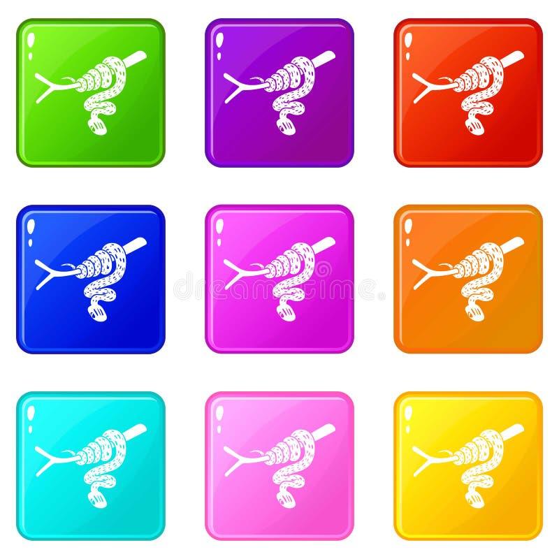 Les icônes de serpent d'arbre ont placé la collection de 9 couleurs illustration libre de droits