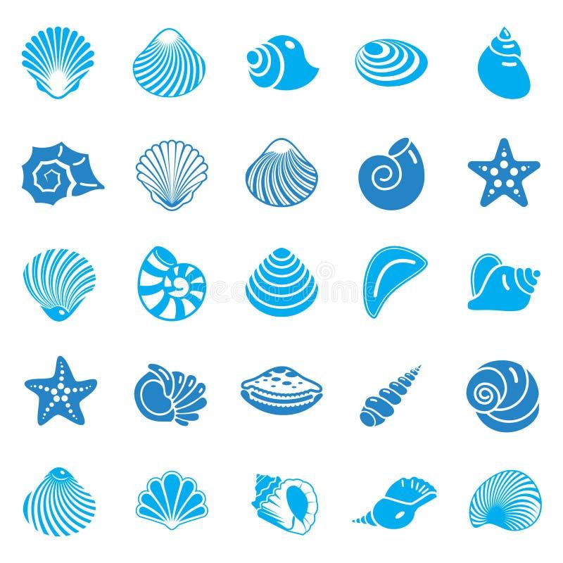Les icônes de Shell de mer ont placé bleu sur le fond blanc pour le graphique et la conception web Signe simple de vecteur Symbol illustration de vecteur