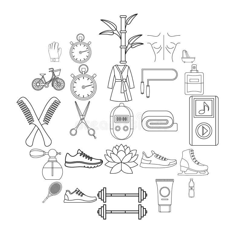 Les icônes de solidité ont placé, style d'ensemble illustration stock