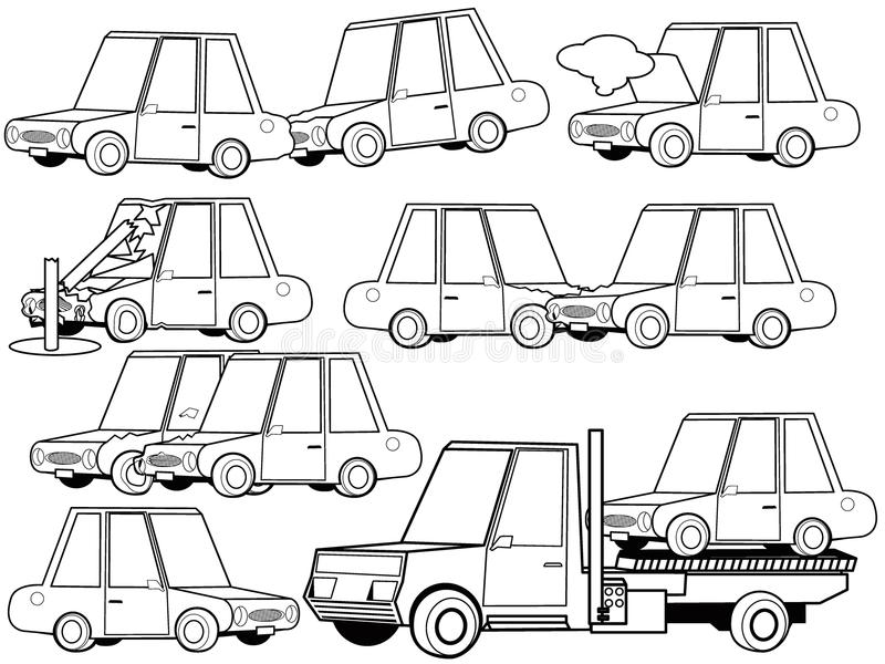 Les icônes de structure d'accident et d'accident de voiture de voiture ont placé le concept d'ensemble illustration stock
