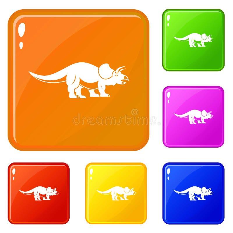 Les icônes de Styracosaurus ont placé la couleur de vecteur illustration libre de droits