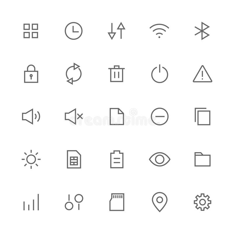 Les icônes de système et d'arrangement se sont rapportées pour le Web et le vecteur courant mobile illustration stock