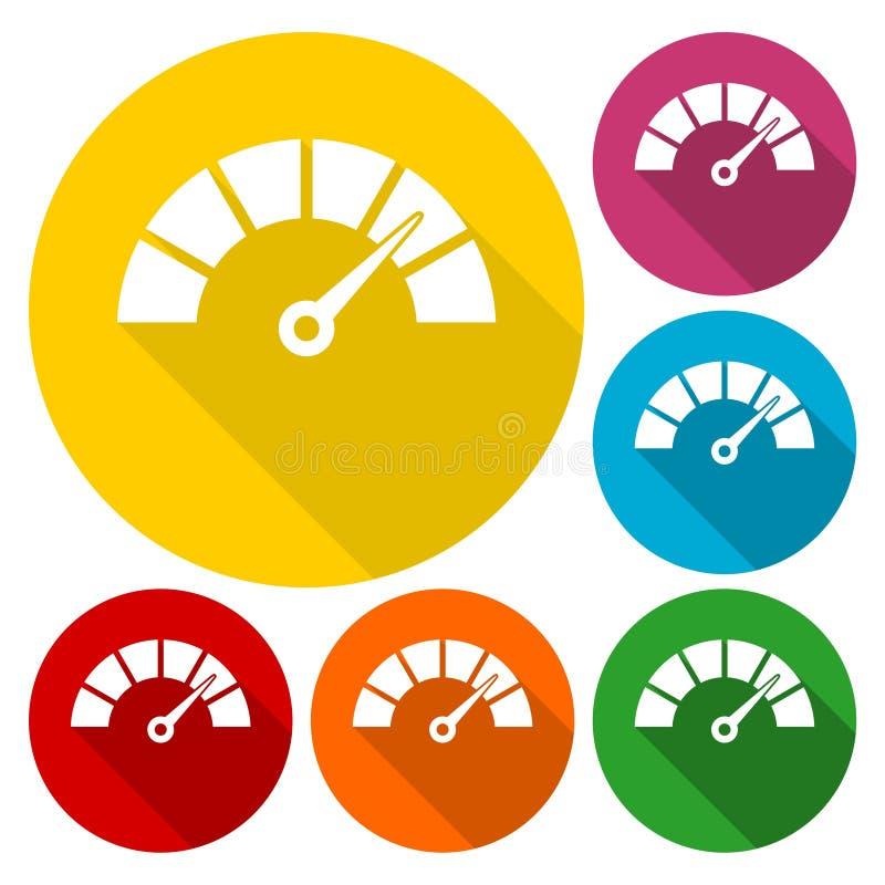 Les icônes de tachymètre ou de mesure ont placé avec la longue ombre illustration libre de droits