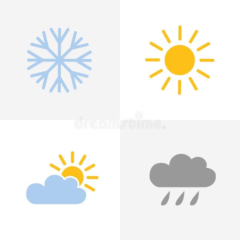 Les icônes de temps ont placé avec le nuage et la pluie du soleil de flocon de neige illustration de vecteur