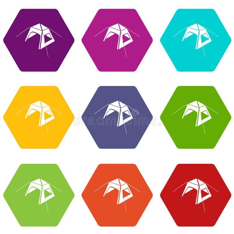 Les icônes de tente d'enfant ont placé le vecteur 9 illustration de vecteur