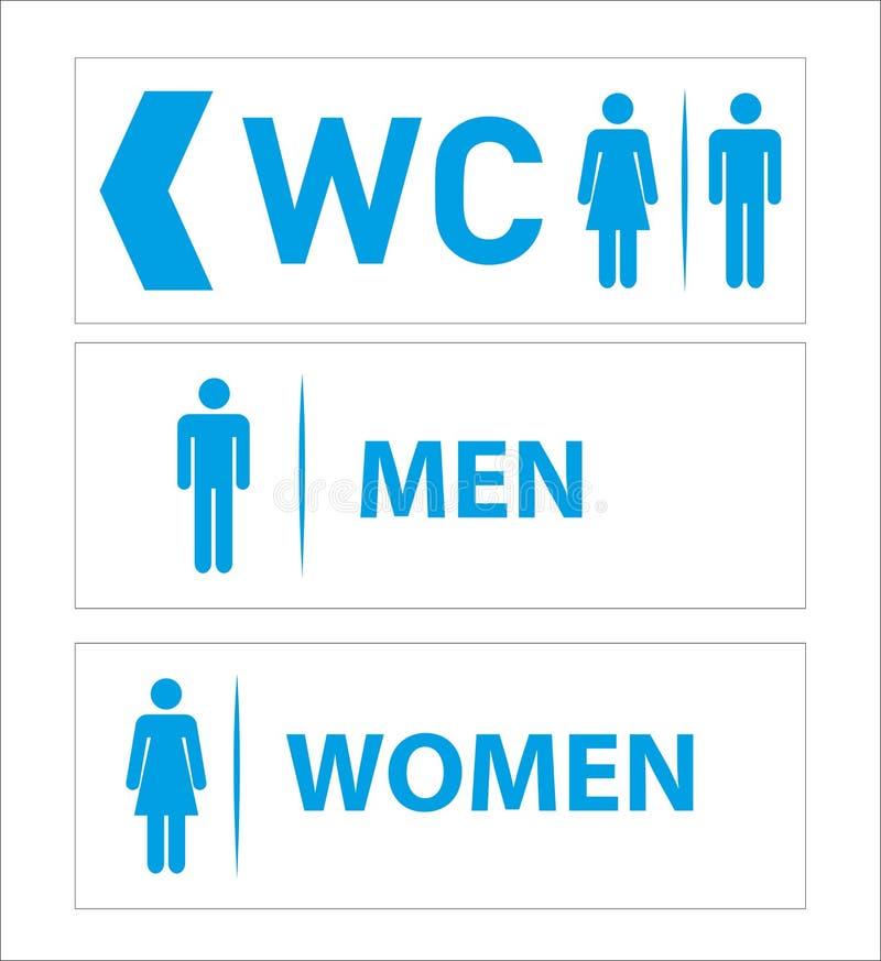 Les ic?nes de toilette ont plac? la carte de travail de toilettes de gar?on ou de fille illustration libre de droits