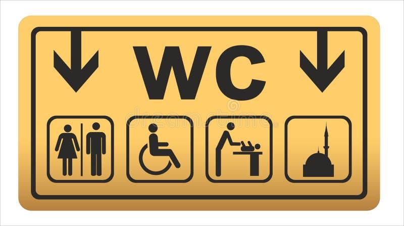 Les ic?nes de toilette ont plac? la carte de travail de toilettes de gar?on ou de fille illustration de vecteur