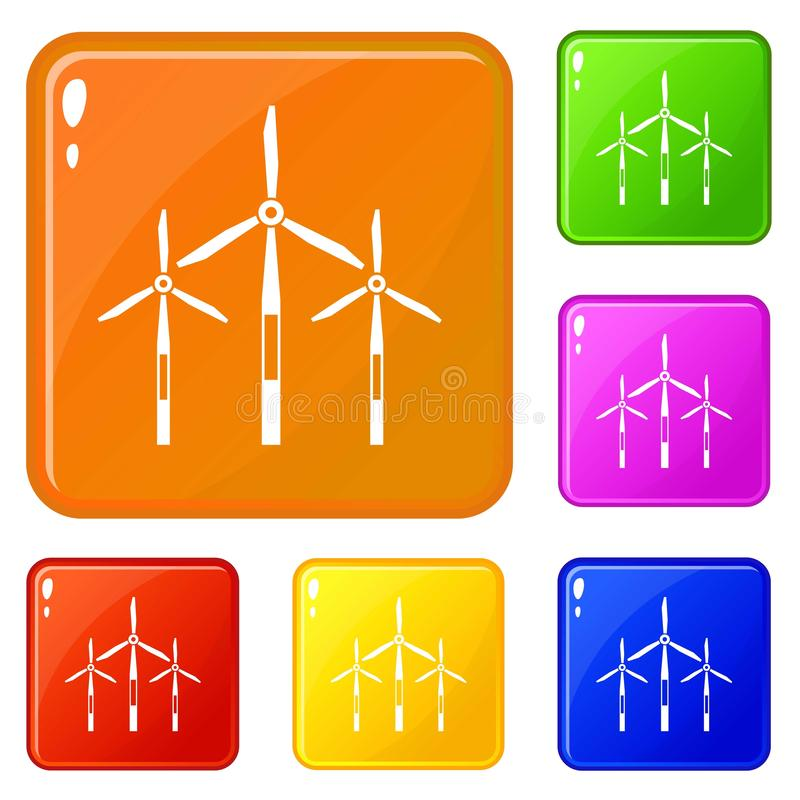 Les icônes de turbines de générateur de vent ont placé la couleur de vecteur illustration de vecteur