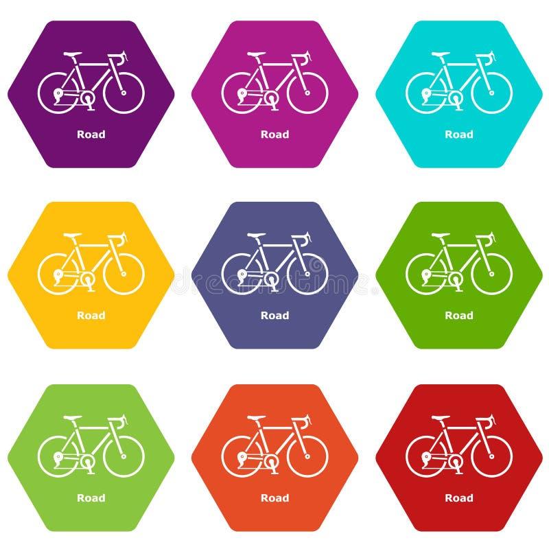 Les icônes de vélo de route ont placé le vecteur 9 illustration stock