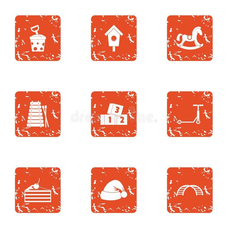 Les icônes de vacances de nouvelle année ont placé, style grunge illustration libre de droits