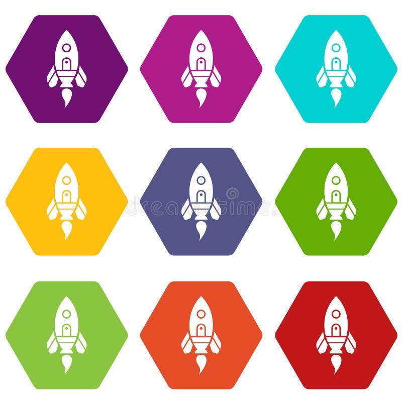Les icônes de vaisseau spatial de Rocket ont placé 9 illustration libre de droits