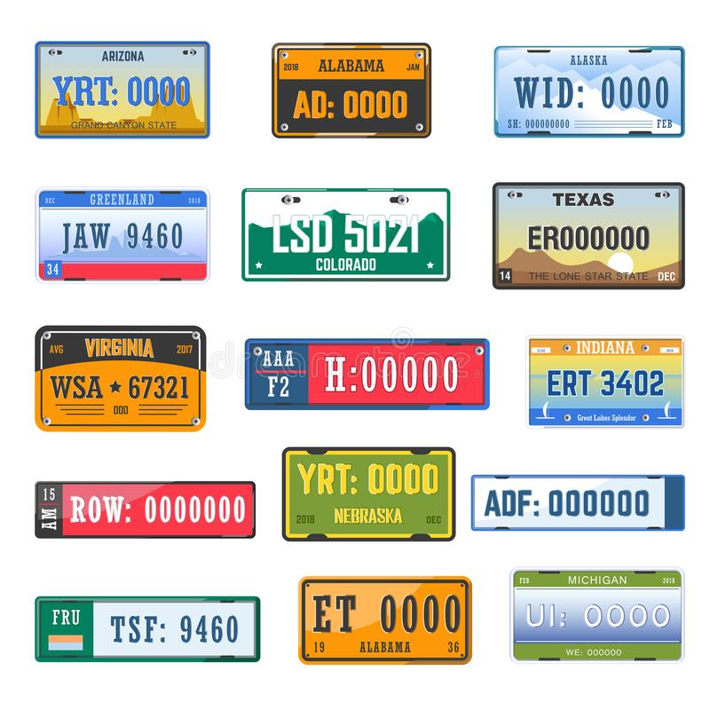 Les icônes de vecteur de collection de plaques minéralogiques d'immatriculation de véhicules ont placé de différents drapeaux de  illustration de vecteur