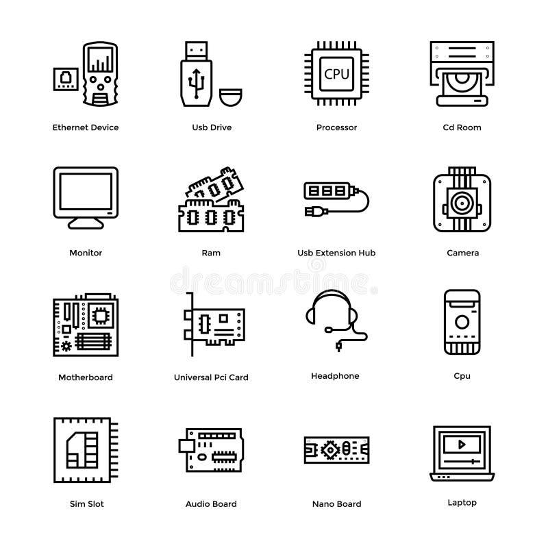 Les icônes de vecteur de matériel informatique emballent illustration libre de droits