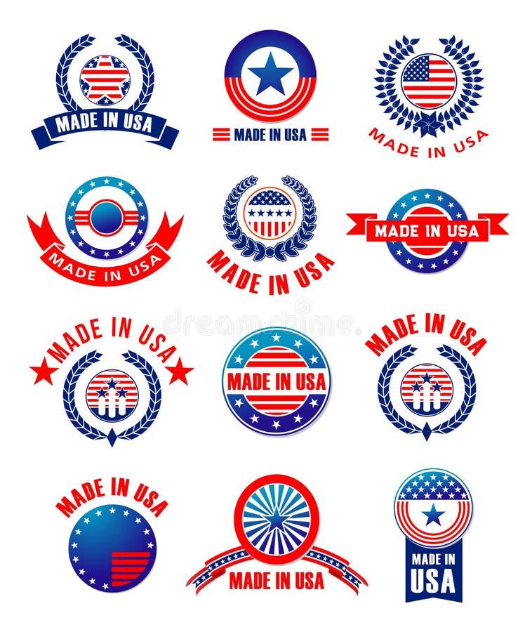 Les icônes de vecteur ont placé Made de qualité des Etats-Unis illustration de vecteur