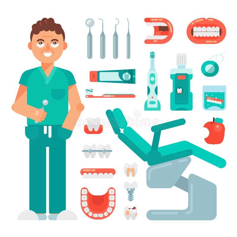 Les icônes dentaires ont placé brosse à dents et pâte dentifrice d'équipement d'art dentaire d'outils de dentiste de vecteur et d illustration libre de droits