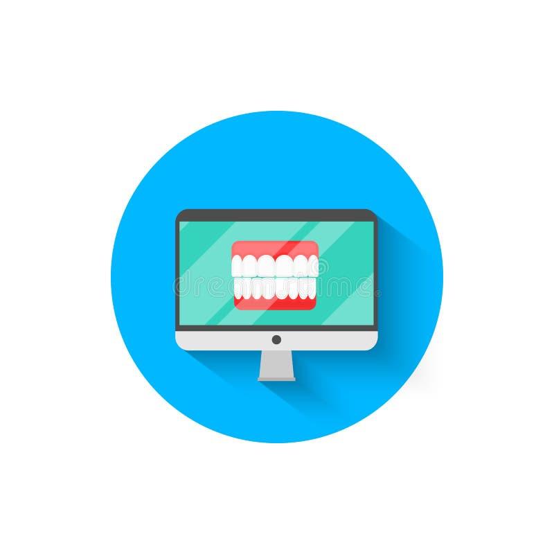 Les icônes dentaires sur l'ordinateur surveillent, illustré dans une illustration plate de vecteur de style de conception Art den illustration libre de droits