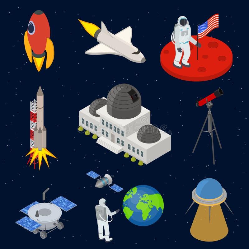 Les icônes des signes 3d de l'espace ont placé la vue isométrique Vecteur illustration stock