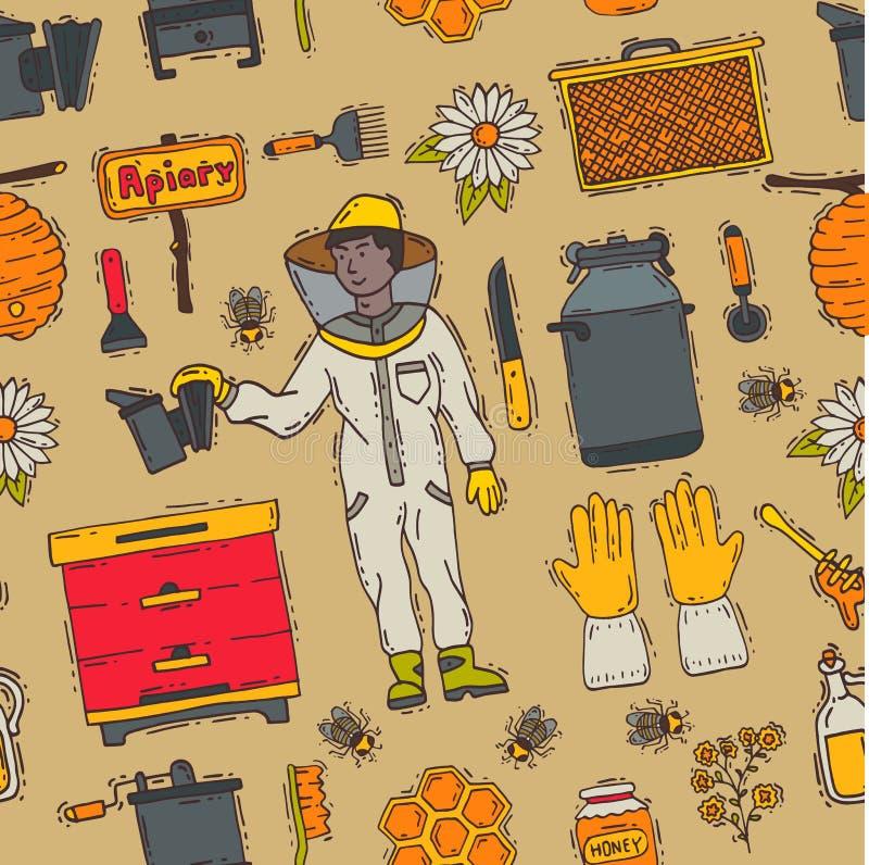 Les icônes douces de l'apiculture de ferme de rucher de beeceeper de miel ont placé le modèle sans couture d'illustration de cire photographie stock