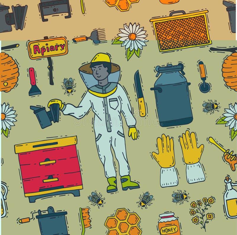 Les icônes douces de l'apiculture de ferme de rucher de vecteur de beeceeper de miel ont placé l'illustration de cire d'abeille d illustration libre de droits