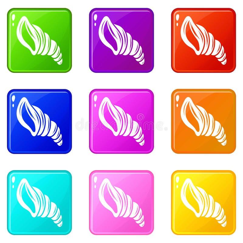 Les icônes en spirale de coquille ont placé la collection de 9 couleurs illustration de vecteur