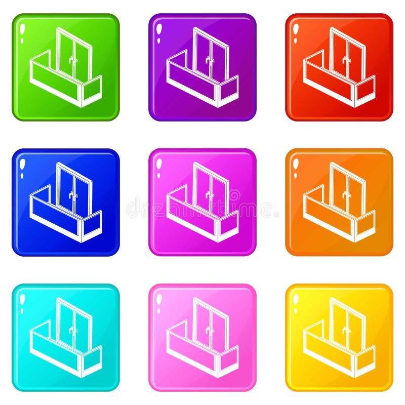 Les icônes en verre de balcon ont placé la collection de 9 couleurs illustration stock