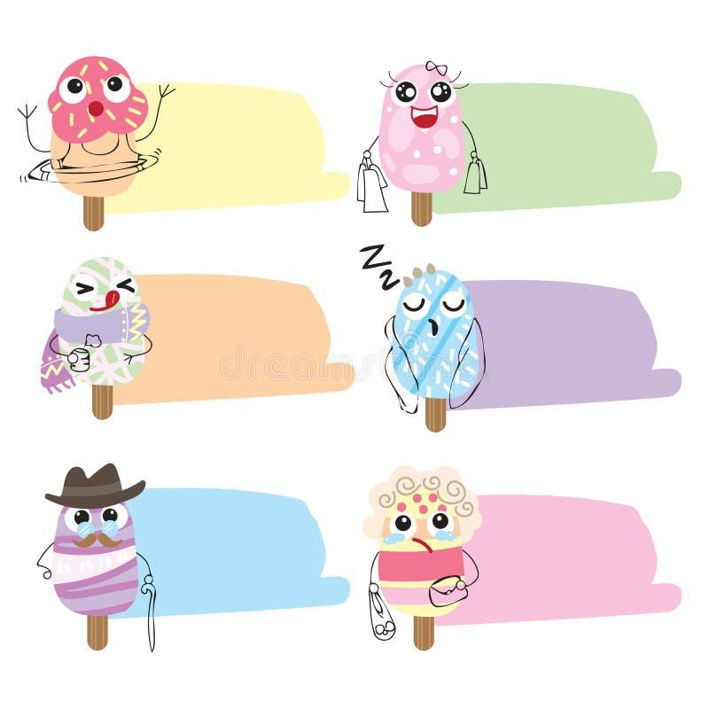 Les icônes et les bulles mignonnes plates de crème glacée causent la collection illustration de vecteur