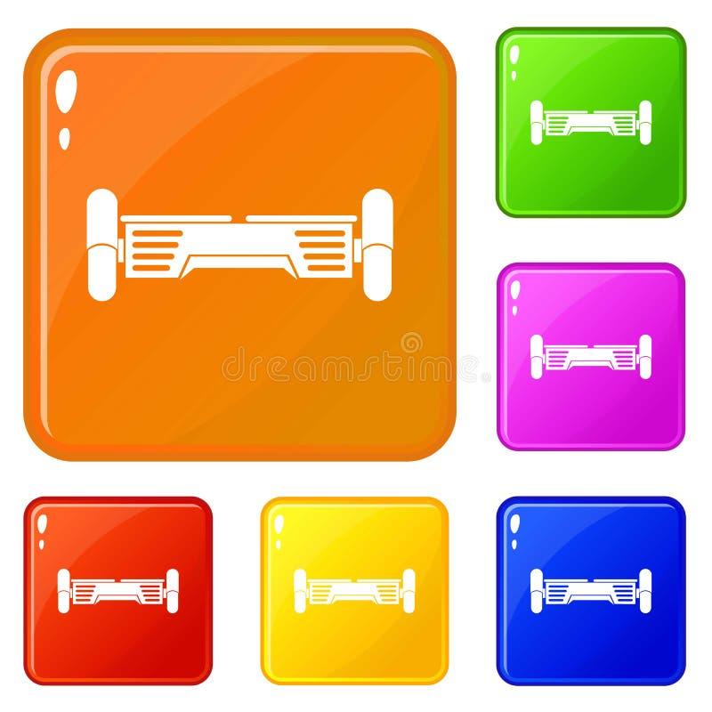 Les icônes futées de scooter ont placé la couleur de vecteur illustration libre de droits