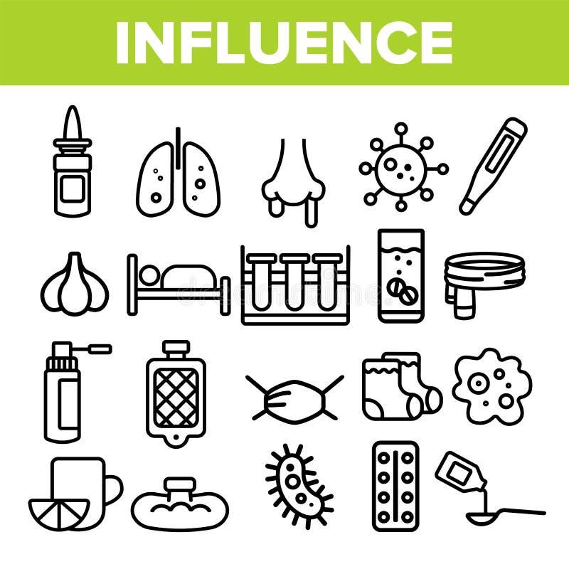 Les icônes linéaires de vecteur de grippe ont placé le pictogramme mince illustration libre de droits