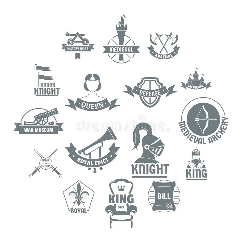 Les icônes médiévales de logo de chevalier ont placé, style simple illustration libre de droits