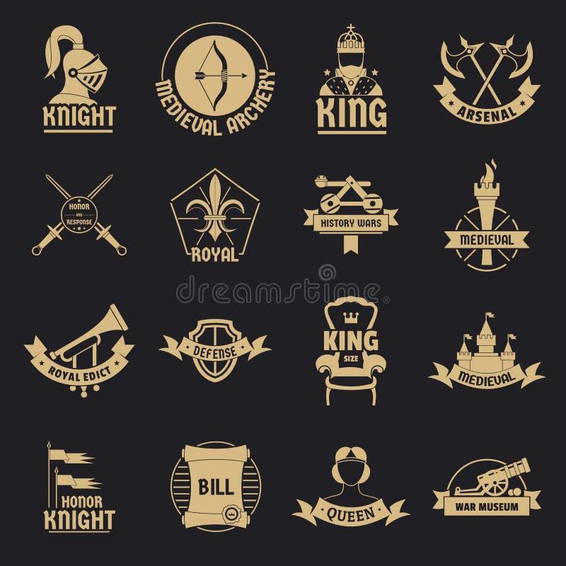 Les icônes médiévales de logo de chevalier ont placé, style simple illustration de vecteur